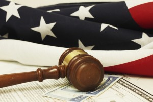 image of US flag and gavel with social security card