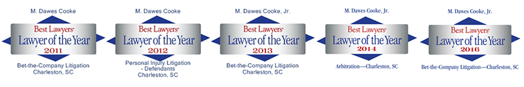 logos for Dawes Cooke, Best Lawyers Lawyer of the Year for Charleston for 2011, 2012, 2013, 2014, 2016