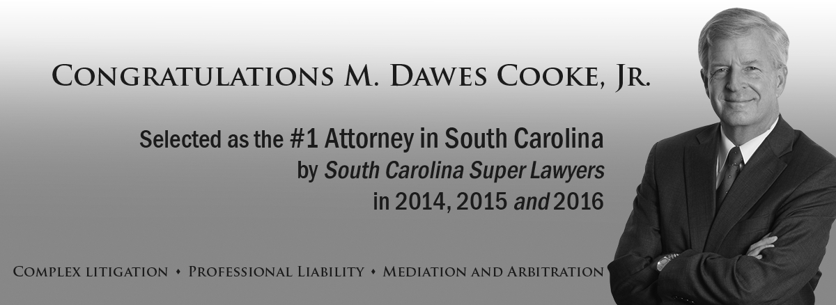 black and white slider header image of Dawes Cooke, listed number one in South Carolina Super Lawyers for 2016