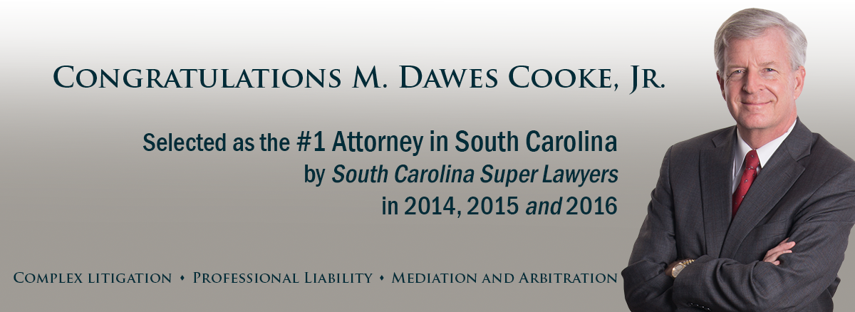 color slider header image of Dawes Cooke, listed number one in South Carolina Super Lawyers for 2016