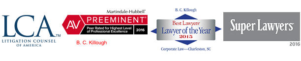 logos for attorney Bill Killough, LCA, Best Lawyers, AV rated Martindale Hubbell, Super Lawyers