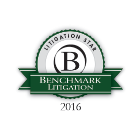 2016 logo for Benchmark Litigation Star