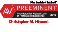AV Martindale Hubbell rating for attorney Chris Hinnant