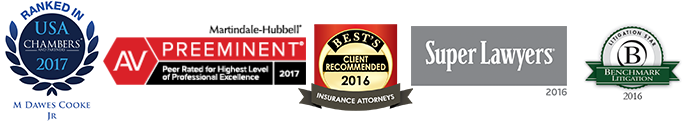 awards logos for attorney Dawes Cooke including Benchmark Litigation, Chambers USA, Martindale Hubbell AV rated attorney,Super Lawyers and AM Best recommended