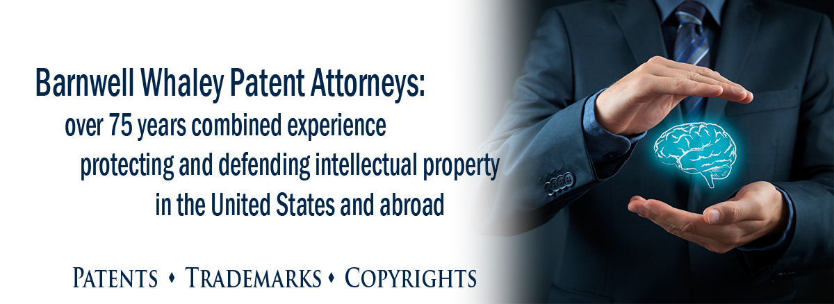 intellectual property lawyer header image for rotating slides includes photo of two open hands cradling a graphic image of a brain